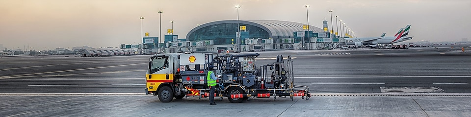 DXB Airport refueling Shell Truck