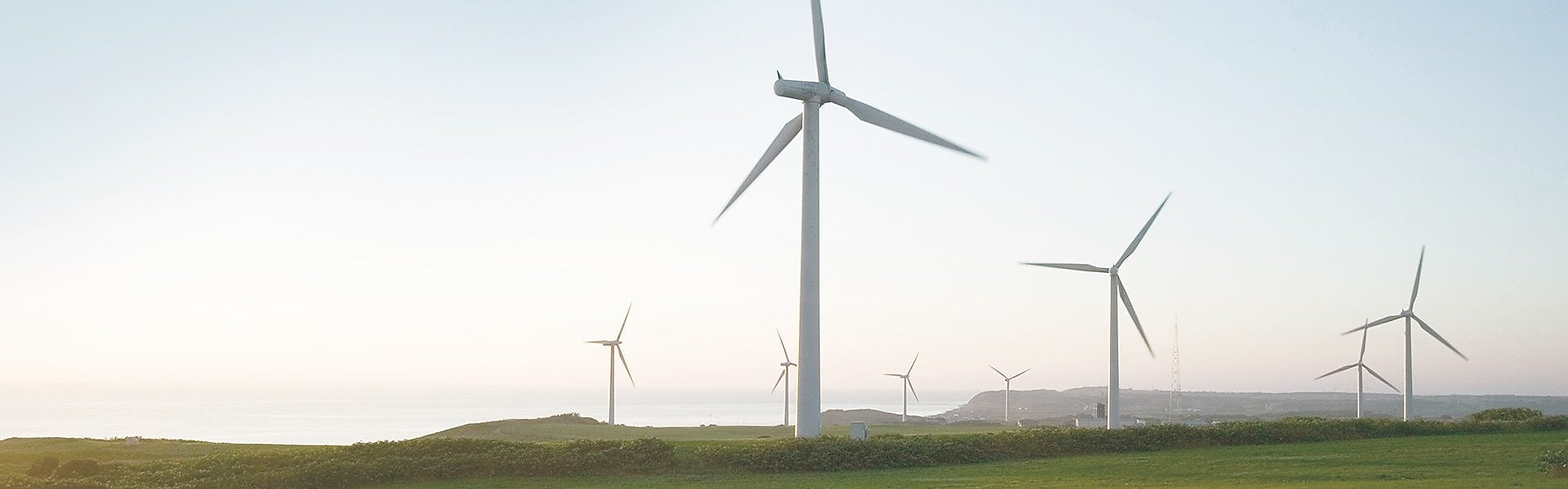 a view of a wind turbine farm